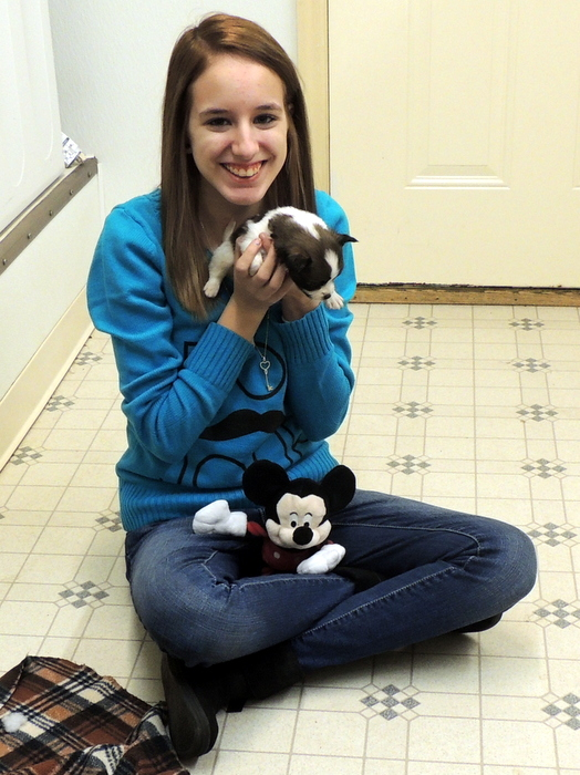 Alicia with Mickey, one of Lace's Papillon Puppies