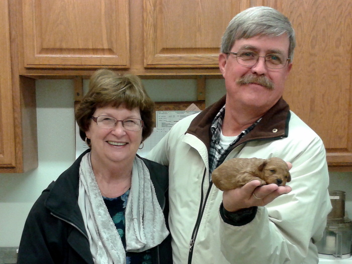 David and Gloria with their miniature poodle puppy