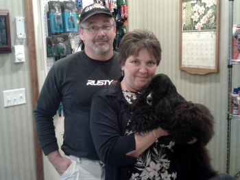 Tucker, cocker spaniel, went home with Julia and her husband to Eden, MD